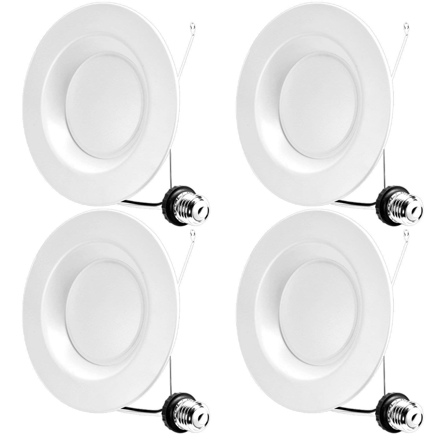 Hykolity 6 Inch LED Recessed Downlight, 15W 1100LM Dimmable Retrofit Recessed Can Downlight, 4000K Neutral White, Damp Location, 65W BR30 replacement- 4 Pack