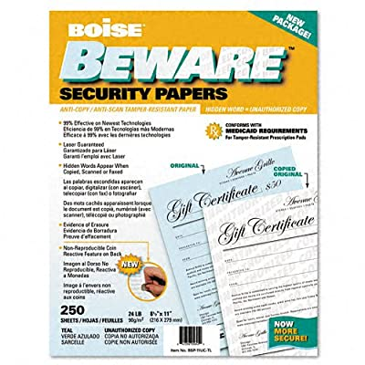 Boise BSP-11UC-TL Beware Security Paper, Bus., Unauth. Copy, 8-1/2 X 11, Teal, 250/Pack