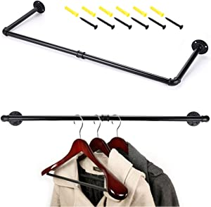 Sumnacon 31.9 Inch Industrial Pipe Clothing Rack Bar - Heavy Duty Rustic Coat Hanger with Screws, Wall-Mounted Metal Garment Holder Rack for Retail Display/Laundry/Boutique/Clothing Store, Black