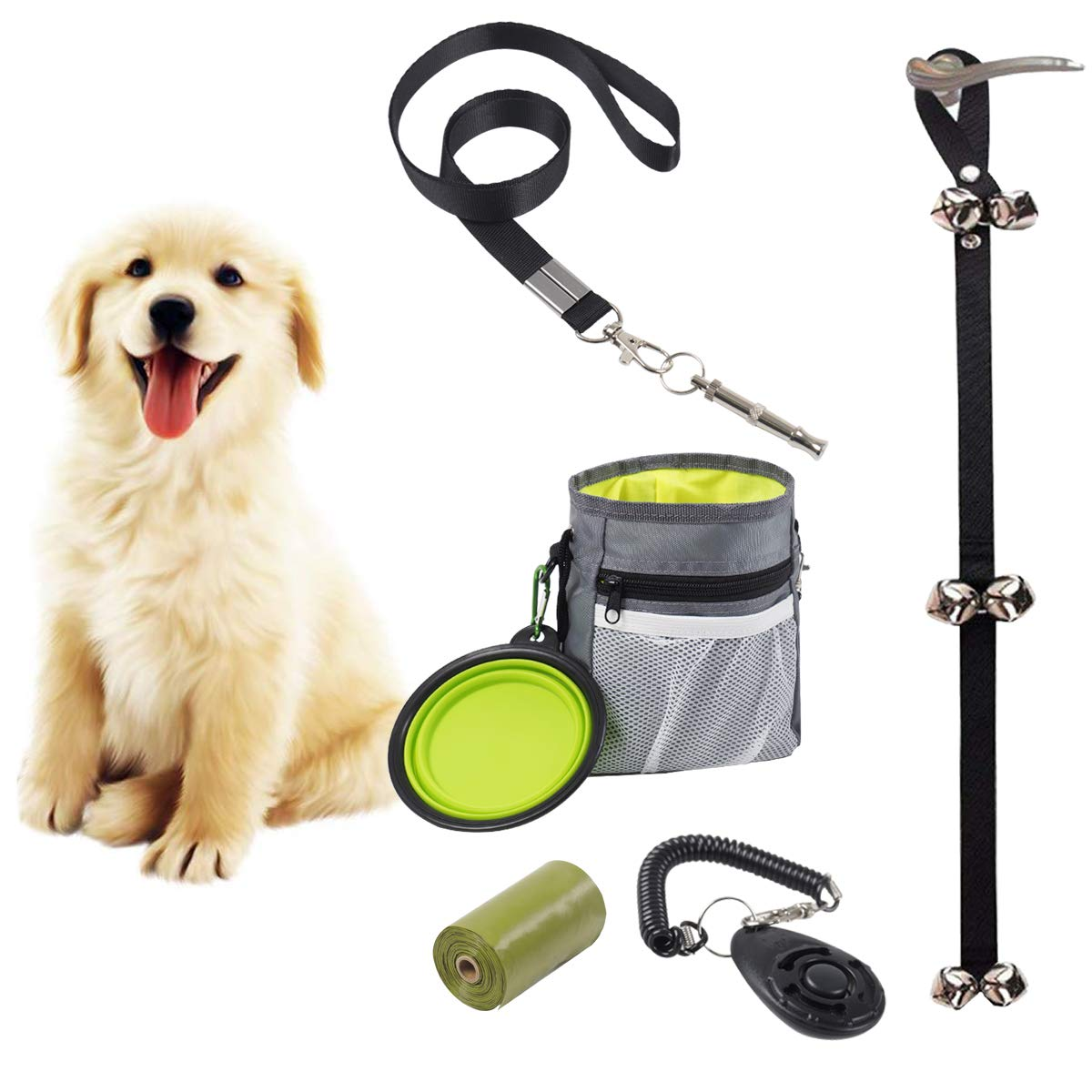 HOMFREEST Puppy Training Set with Dog Clicker, Dog Whistle, Training Doorbells, Dog Treat Training Pouch, Collapsible Bowl and Poop Bag, 6 in 1 Puppy Training for New Pet Owners by HOMFREEST