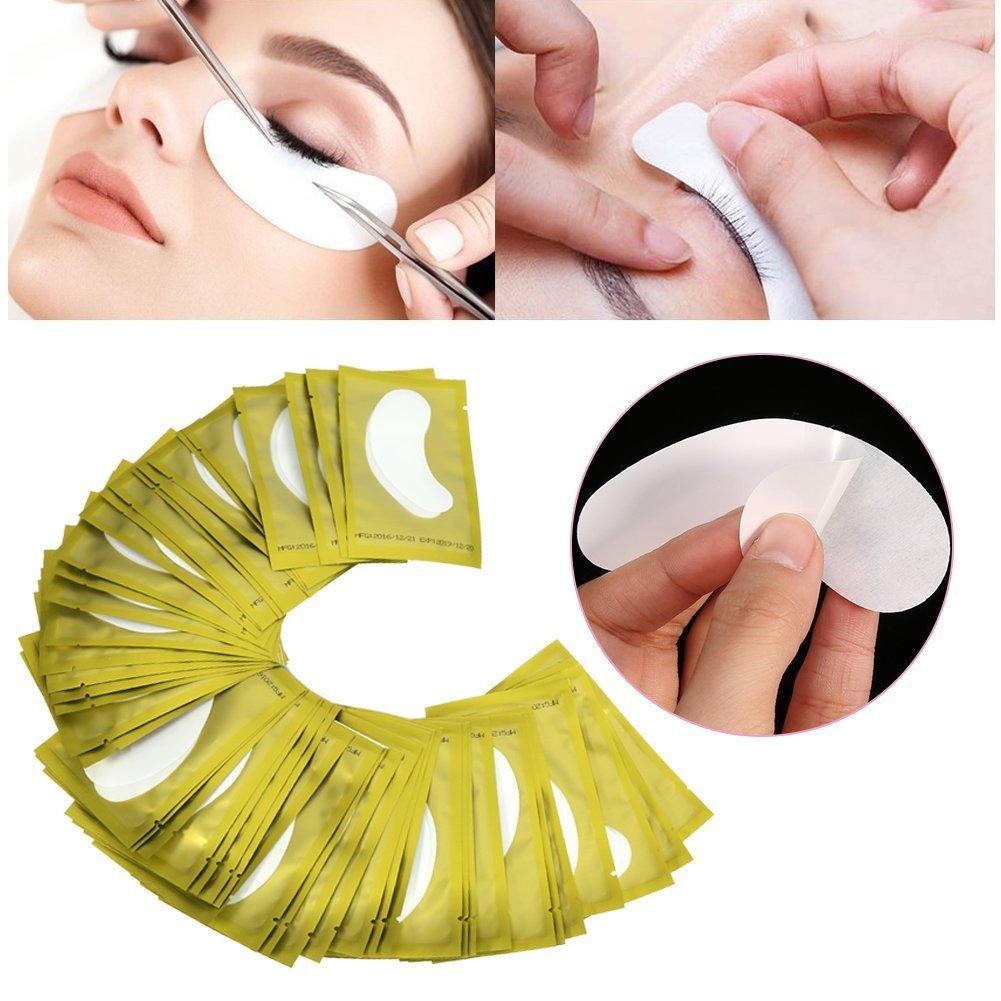 50Pairs Under Eye Gel Patches, Lint Free Under Eye Pads Hydrogel & Collagen Eye Moisture Mask for Eyelash Tinting & Lash Extension Makeup Beauty Tool for Pro Salon and Individual Use (gold) ZJchao