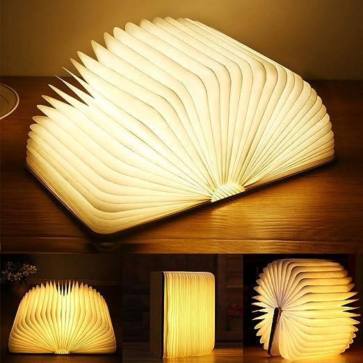 Yuanj Libro Lámpara LED, Luces Plegables de Madera 360°, USB Recargable, Portátil, Luz Lectura/Decorativa, Luz de Nocturna LED magnética, Lámpara de ...