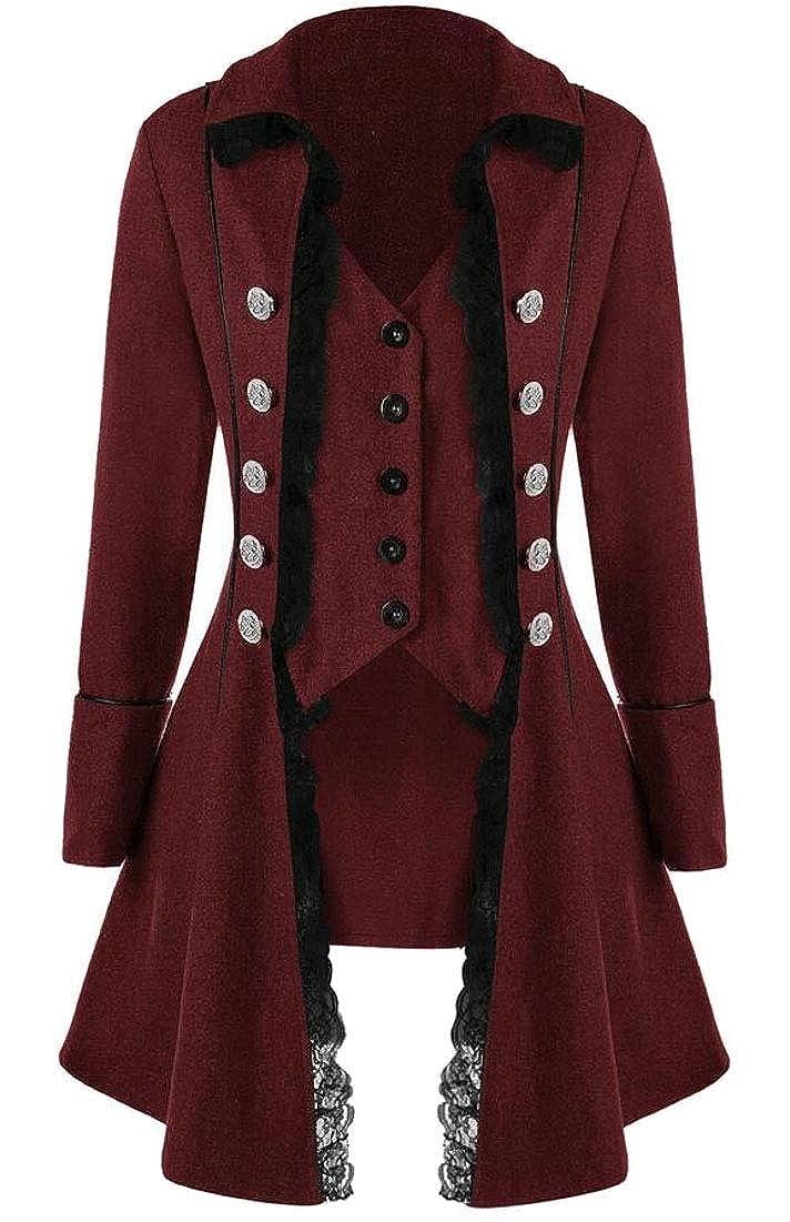 WSPLYSPJY Women Retro Medieval Gothic Steampunk Jacket Tuxedo Tailcoats