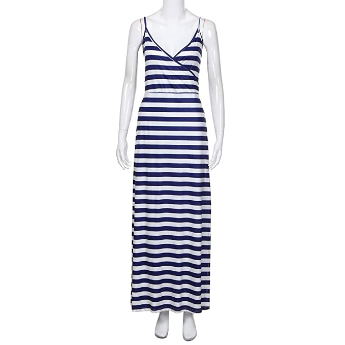 b868eebbe02 Women Summer Dresses DIKEWANG Sexy Ladies Trendy Stripe Strappy V Neck Long  Split Maxi Dress Beach Dress  Amazon.co.uk  Clothing