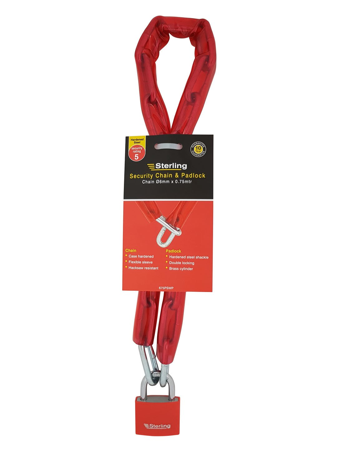 Sterling 675PSWP Chain and Padlock, Red Sterling Locks