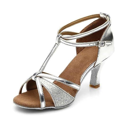 YFF Ballsaal Damen Latin Dance Schuhe für Mädchen Salsa Tango, Silber 7 cm Absatz, 4.5