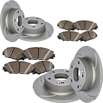 Front and Rear Set Premium Drilled /& Slotted Disc Brake Rotors /& Ceramic Pads