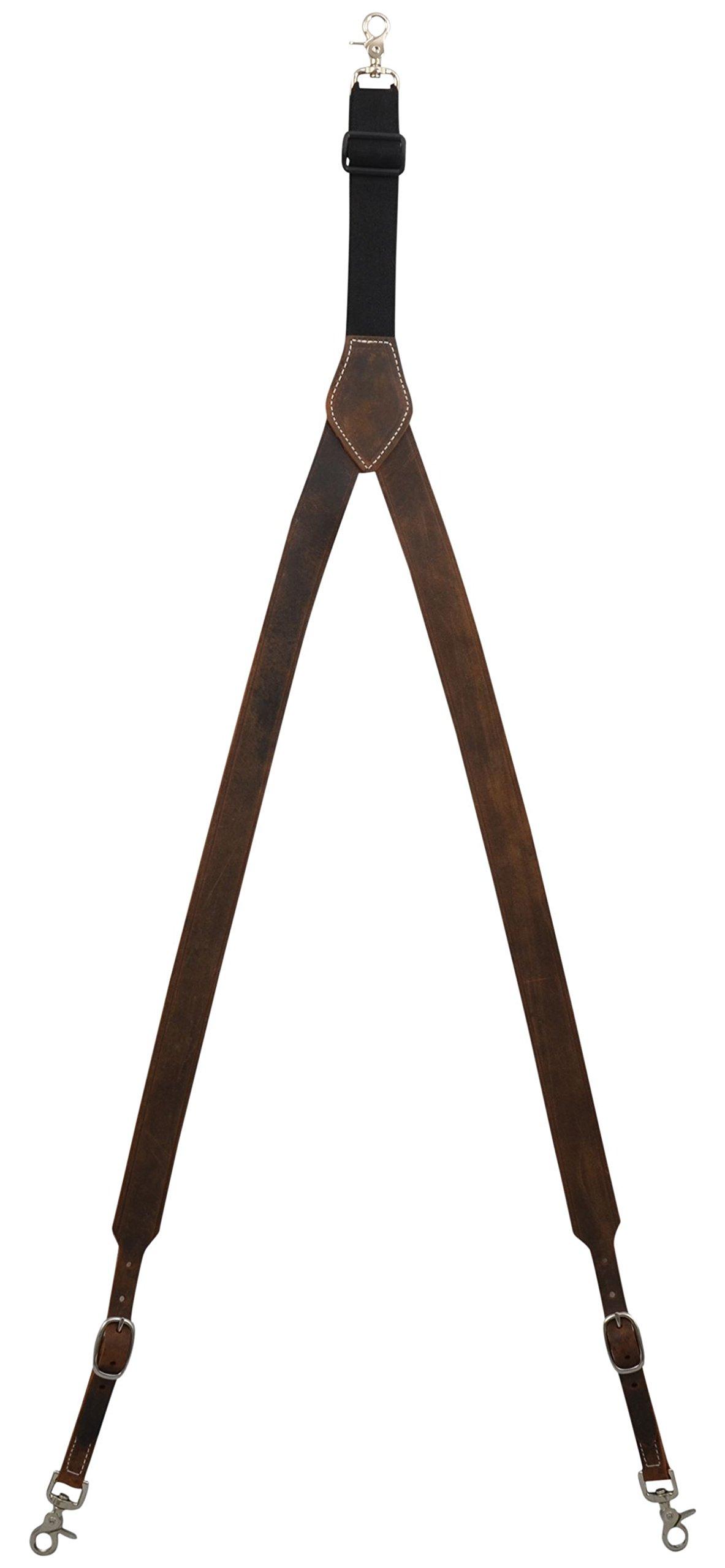 3D Brown Leather Suspenders