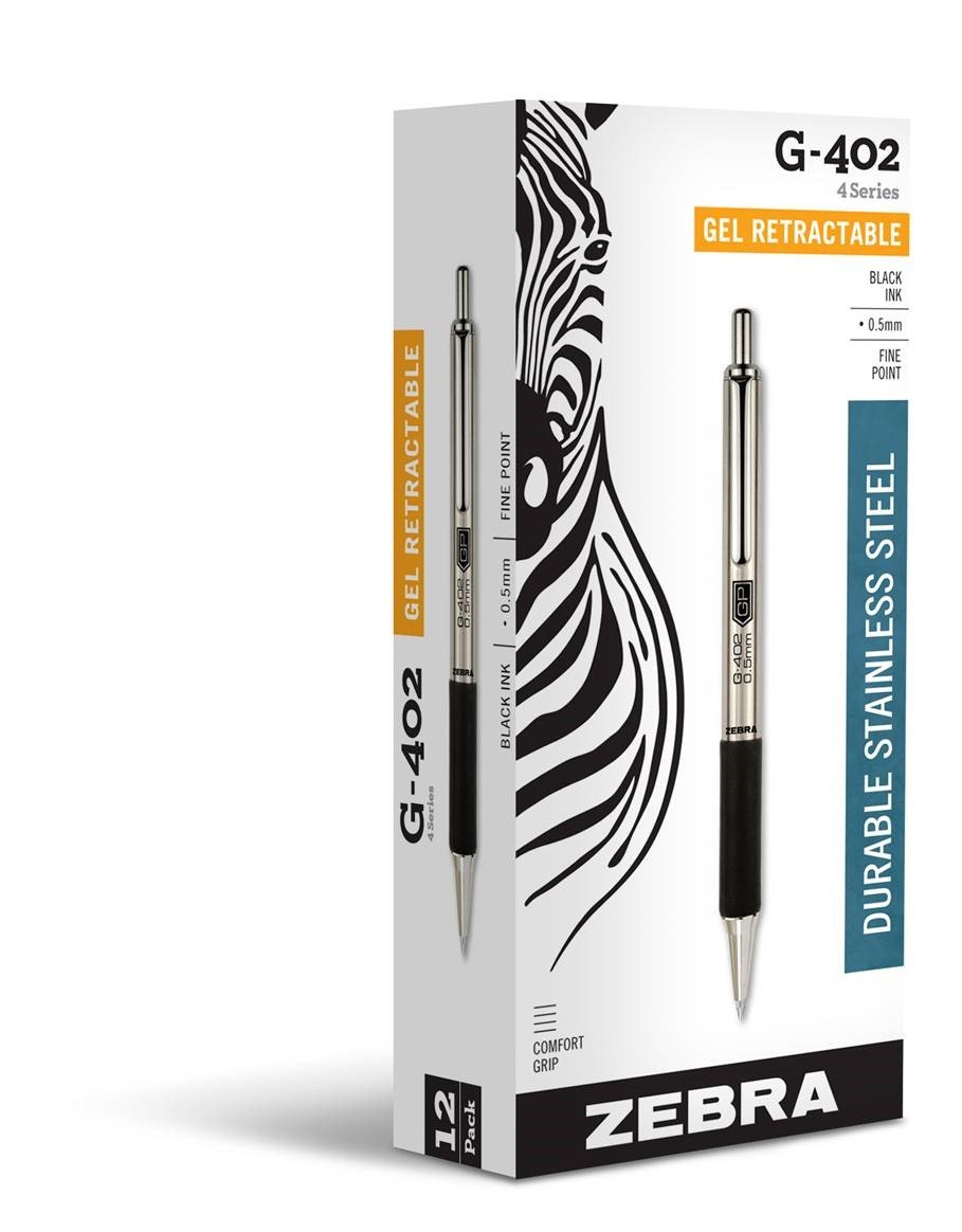 Zebra G-402 Stainless Steel Retractable Gel Pen, Fine Point, 0.5mm, Black Ink, 12-Count by Zebra Pen (Image #1)