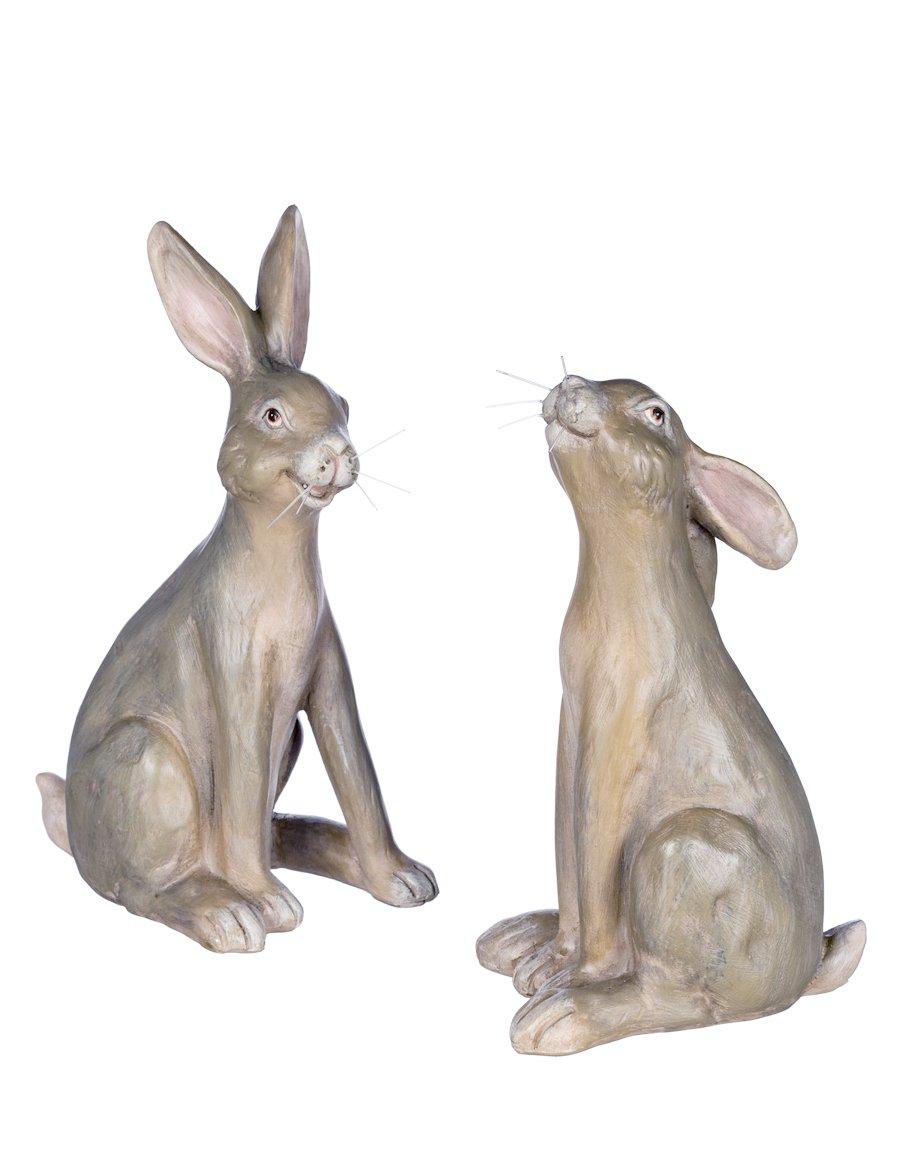 Set of 2 Assorted Sullivans 7'' Whiskered Resin Rabbit Figurines by Sullivans