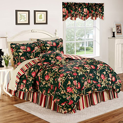 Waverly Charleston Chirp Reversible Quilt Collection, King, Noir