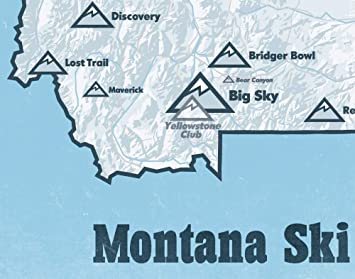 Amazon Com Montana Ski Resorts Map 11x14 Print White Light Blue