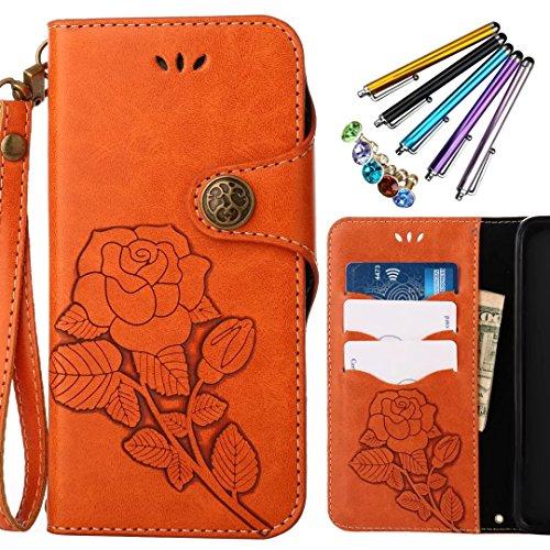 Funda Nokia 6 Carcasa, Ougger Tela Diseño Cuero Tapa Suave Silicona Premium Fundas Piel Billetera Magnética Stand Bumper Protector Flip Cover Carcasa Nokia 6 con Ranura para Tarjetas, Impresión Flores Naranja