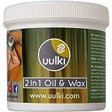 Uulki Olio e Cera naturale 2-in-1 per Taglieri, Utensili da Cucina, butcher block, taglieri grande, piano di lavoro in Legno o Bambù, a base vegetale /Vegan (250 ml)