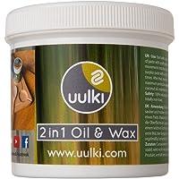 Uulki Entretien Naturel du Bois (250 ML) – 100% à Base de Plantes/Vegan – Huile et Cire 2 en 1 pour Planches à découper, Billot Bloc de Boucher, Plans de Travail, Tables, ustensiles de Cuisine