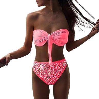 Halijack Women Swimwear Summer Drilling Sequin Low Waist Two Piece