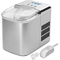 Costway Ice Maker Machine with LCD Display Clear Operation Control Panel Stainless Steel Finish Portable and Compact Ice Making Machine High Efficiency Makes 26 lbs of Ice per 24 hours with Ice Scoop