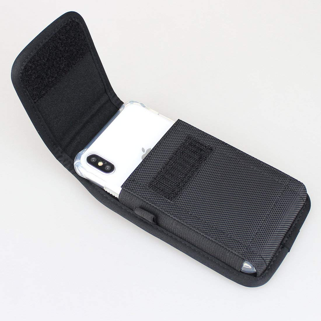 iPhone 6//6s//7//8 Plus 5.5 Black Aubaddy Vertical Nylon Holster Pouch Case with Belt Loop for iPhone Xs Max Fit with a Thin Case
