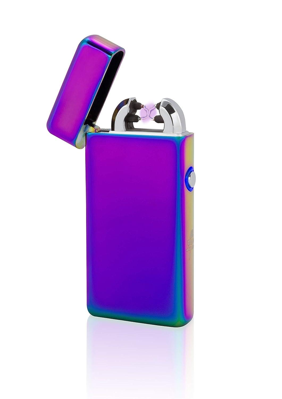 TESLA Lighter T08 | Briquet à arc, plasma à double arc, rechargeable électroniquement, rechargeable via USB, sans gaz et essence, avec câble de recharge, dans une boîte cadeau noble, arc-en-ciel plasma à double arc