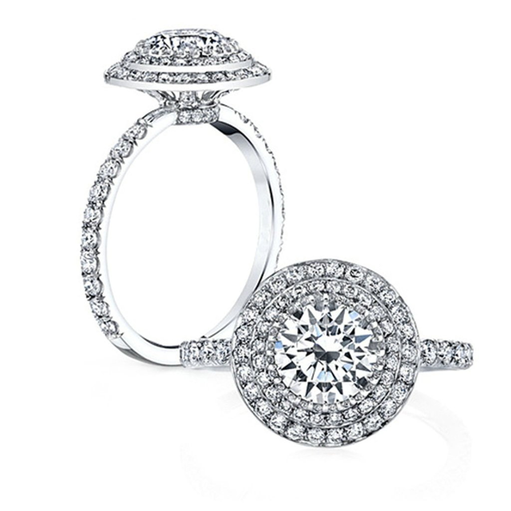 925 Sterling Silver Women Ring Engagement Wedding Band Cubic Zirconia Big Round Size 8.5