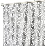 Extra Long Shower Curtain Fabric Shower Curtains Bathroom Curtains Gray Shower Curtain Damask 84''