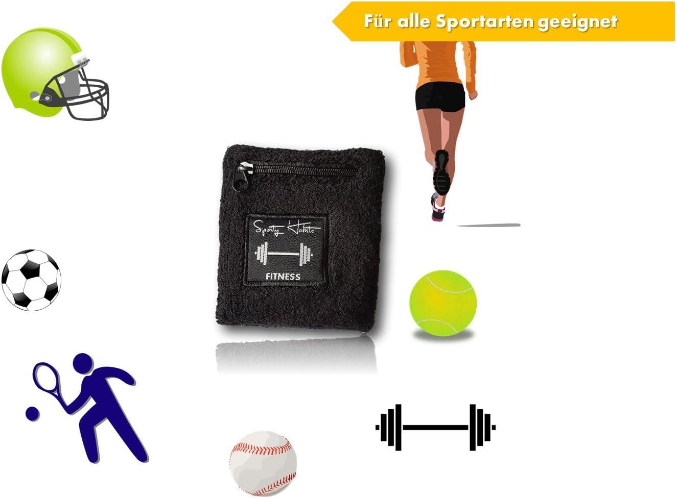 /Imperm/éable pour cl/és /avec Poche zipp/ée/ sporty habits Bandeau /éponge Noir/ Walken etc/ /Jogging Argent Cartes,/ Fitness /Bracelet Bandeau /ép Cyclisme