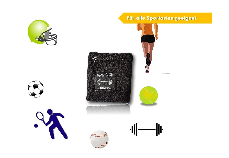 /Bracelet Bandeau /ép Walken etc/ sporty habits Bandeau /éponge Noir/ /Imperm/éable pour cl/és /Jogging Cartes,/ Cyclisme Argent Fitness /avec Poche zipp/ée/