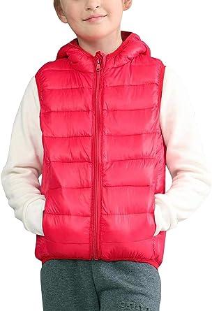 Liangfeng Doudoune Matelassé Gilet à Capuche Enfant Coton Léger Zip sans Manches Doux, Blouson Col Montant 2 Poches Zippées Devant Casual Taille