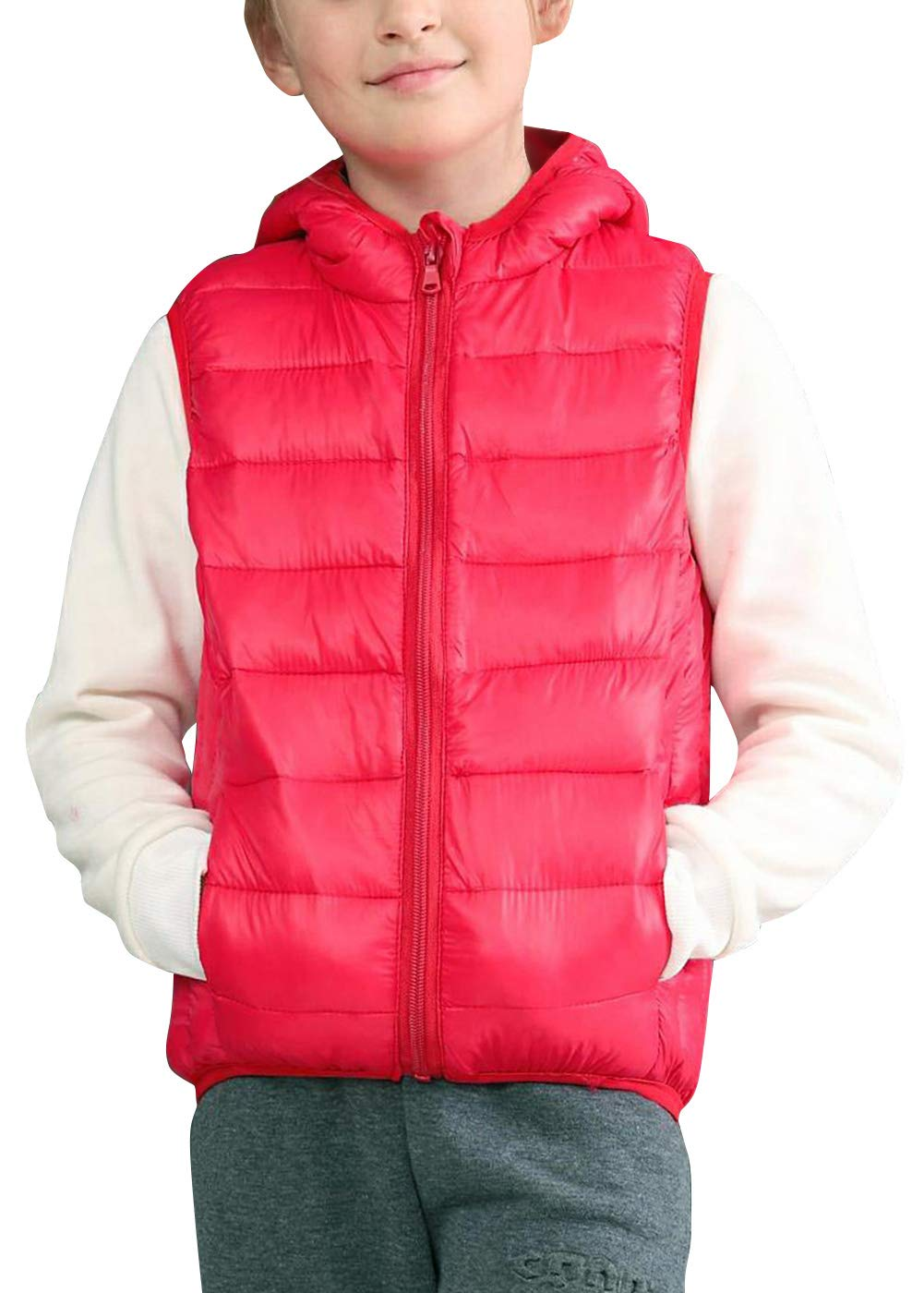 liangfeng Baby Boys Girls Kids' Outerwear Vest Ultra Light Thicken Hooded Down Jacket Red