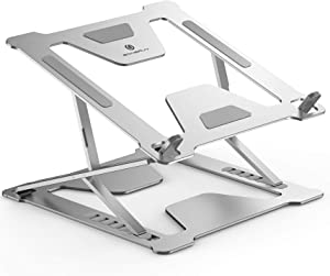 """Adjustable Laptop Stand for Desk, Portable Foldable Laptop Riser with Heat-Vent to Elevate Laptop, 13 Lbs Heavy Duty Laptop Holder for MacBook Pro Air, Dell, Lenovo More 11-17.3"""" Laptops(Silver)"""