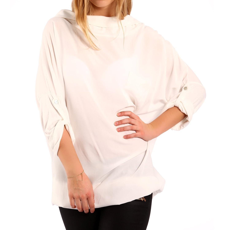 Damen Oversize Kapuzen Longshirt Longsleeve Minikleid Druckshirt 34-40