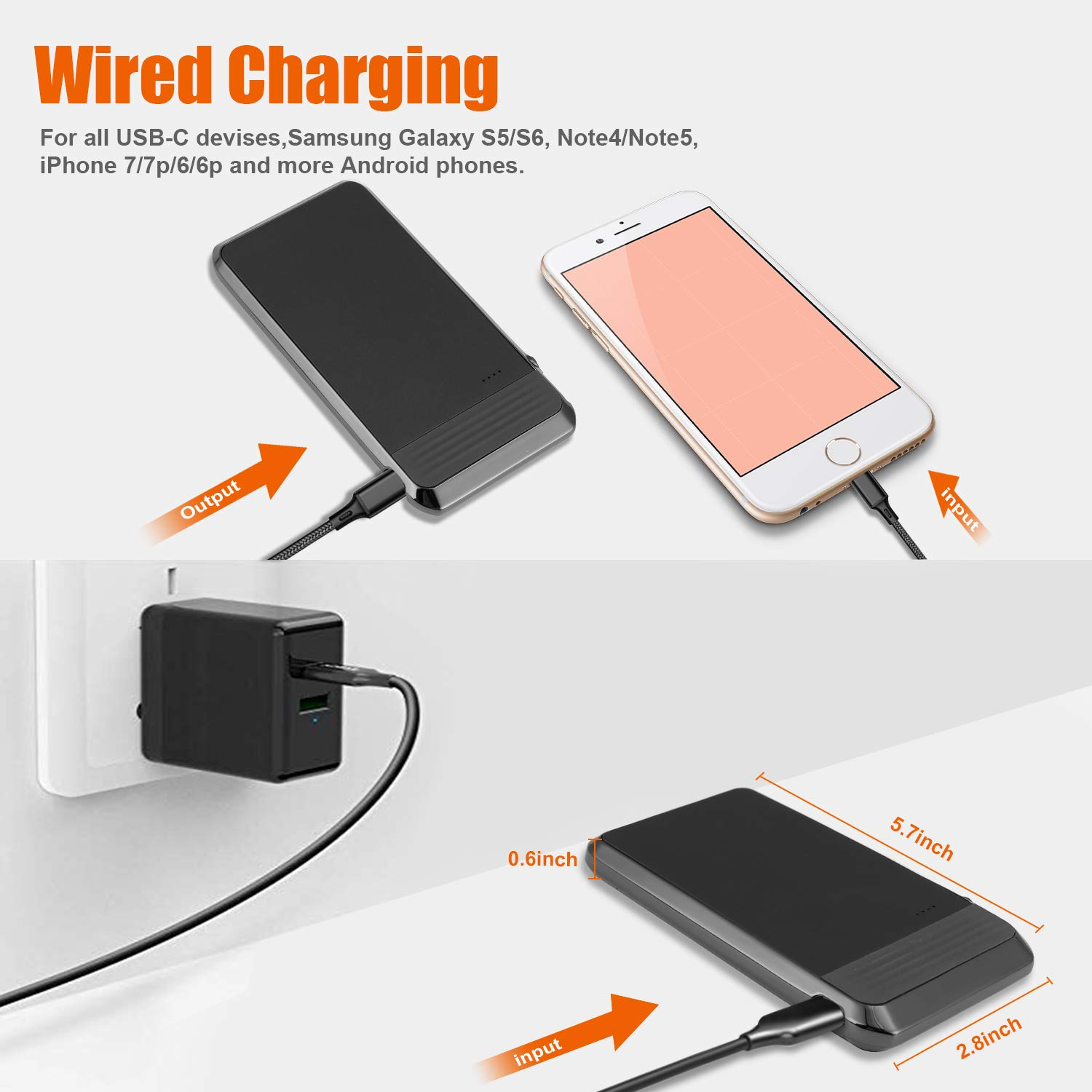 Wireless Portable Charger, AIRGINE QI Wireless Power Bank with Folding Stand for iPhone Xs/XR/X /8 /8p, ipad, Samsung S10 /S9 /Note9 and More (AC Adapter+USB Cable Included)