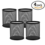 MROCO Mesh Pencil Holder Pen Cups Mesh Pen Holder Metal Pen Organizer Pencil Cup Medium Holder Pencils Holder Makeup Brush Cup Holder for Desk Office Home School Classroom Black 4 Pack