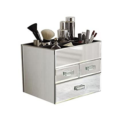 Amazoncom OnDisplay Miro 3 Drawer Tiered Mirrored Glass Makeup