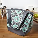 Fit & Fresh Hyannis Insulated Lunch Bag for Women, Soft Cooler Bag with Ice Pack for Work and On-The-Go, Teal Gray Medallion