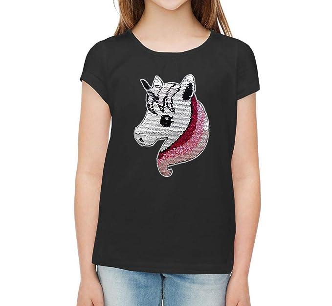 f05f58da1 Unicornio Lentejuelas Camiseta para niña Camiseta de Manga Corta   Amazon.es  Ropa y accesorios