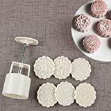 Bath Bomb Press Mold Cookie Stamp Moon Cake Mold with 6 Stamps, Cookie Press Mid Autumn Festival DIY Decoration 75g Press Cake Cutter Mold