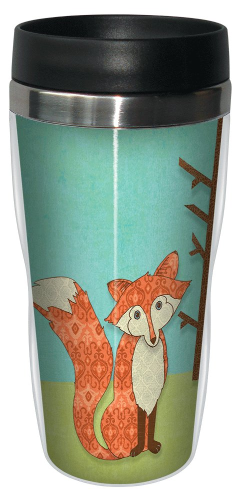 16-Ounce Tree-Free Greetings 78135 Paul Brent Whimsical Fox Sip N Go Stainless Lined Travel Mug