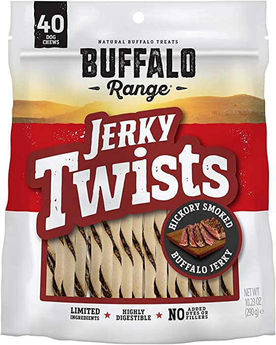 Buffalo Range Rawhide Dog Treats | Healthy, Grass-Fed Buffalo Jerky Raw Hide Chews | Hickory Smoked Flavor | Jerky Twist