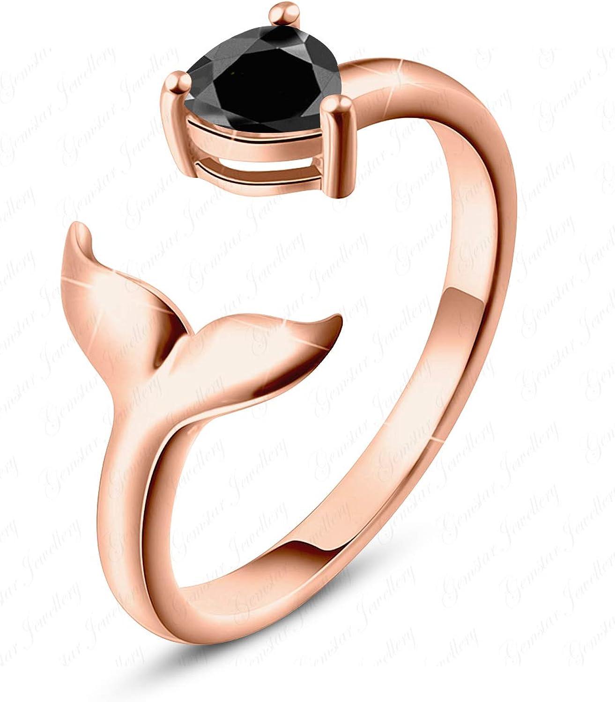 Gemstar Jewellery Stunning Mermaid Toe Ring with Black Sim Diamond 925 Silver 14k Rose Gold Finishing