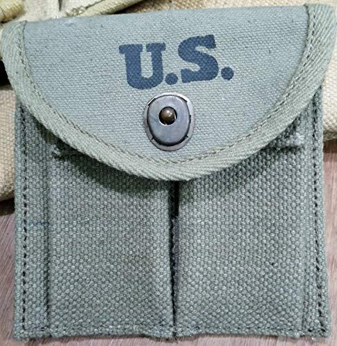 World War Replica WWII-US-webbing-M1-Carbine-Khaki-Canvas-Magzine- Ammo AmmunitionsCartridge-Pouch-Fit Around- Buttstock-Stock-Pistol Waist