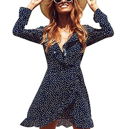 YaoDgFa Damen Kleider Chiffon Polka Dots Kurz Sommerkleid Minikleid ...