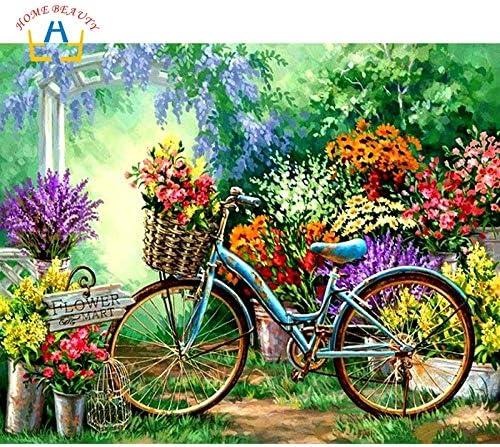KYKDY Dibuje el cuadro por números Flores Bicicleta Lienzo ...