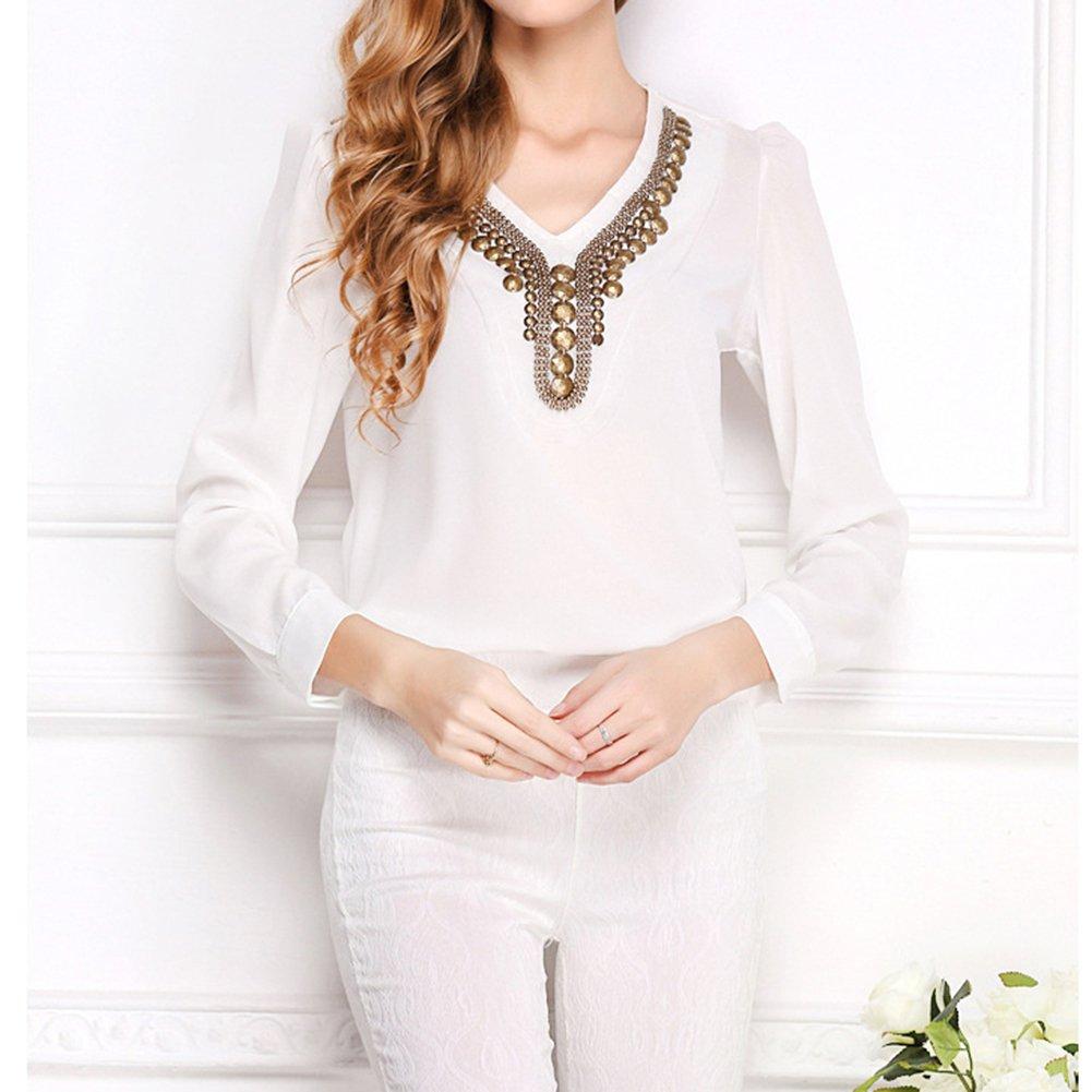 8bb3e671b02ef6 Scothen Women's Irregular Strapless Chiffon T-Shirt Blouses Loose Chiffon  Women's Blouse Summer Casual Chiffon O-Neck Cuff Tops Blouse Tops Long  Sleeve ...