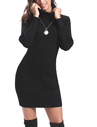 698d95efb8 Abollria Women Long Sleeve Turtleneck Knit Stretchable Elasticity Sweater  Bodycon Dress at Amazon Women s Clothing store