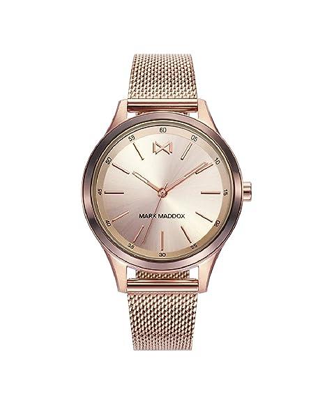 Mark Maddox MM7110-97 Reloj de Mujer Cuarzo Acero IP Rosé Malla Milanesa Tamaño 36 mm: Amazon.es: Relojes