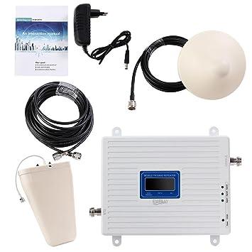 EMEBAY Amplificadores de Señal Móvil Tri-Banda Repetidor 2G 900MHz 2100MHz LTE 1800MHz para Obtenga