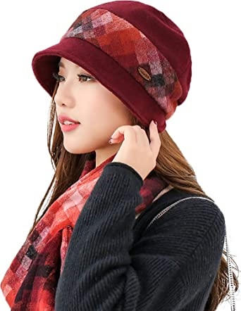 0341155b853 Ababalaya Women s Winter Warm Wool Gradient Cloche Berets Hat Derby Hat With  Scarf Sets - Red