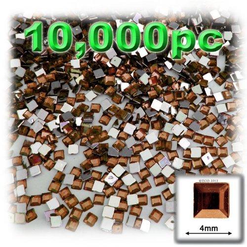 工芸のアウトレット10000-pieceフラットバック正方形ラインストーン、4mm、ビールブラウン