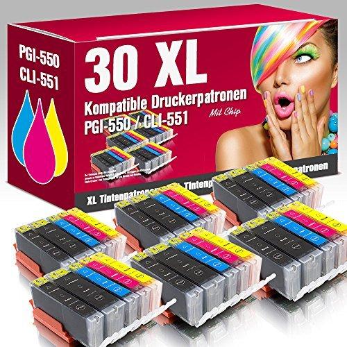 ms-point® 30 kompatible Druckerpatronen mit CHIP und Füllstandsanzeige für Canon Pixma IP7200 IP7250 IP8700 IP8750 IX6800 IX6850 MG5400 MG5450 MG5500 MG5550 MG5600 MG5650 MG5655 MG6300 MG6350 MG6400 MG6450 MG6600 MG6650 MG7100 MG7150 MG7500 MG7550 MX720 MX725 MX920 MX925 Patronen kompatibel zu PGI-550, CLI-551BK, CLI-551C, CLI-551M, CLI-551Y